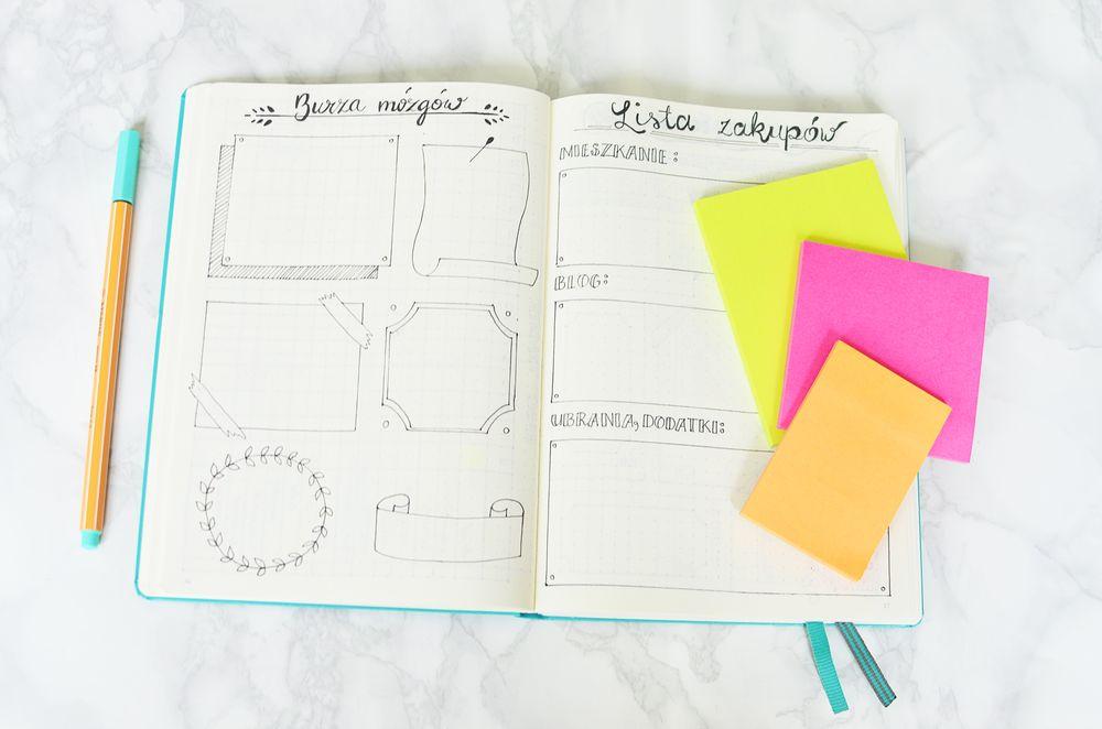 Bullet journal - pomysły, lista zakupów