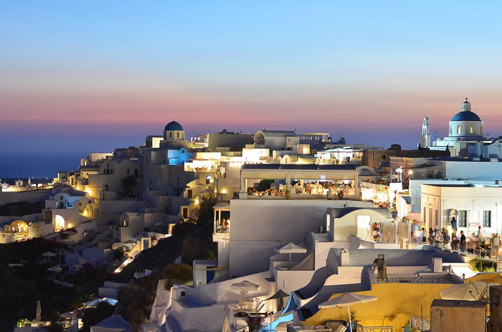 Santorini, Oia tuż po zachodzie słońca