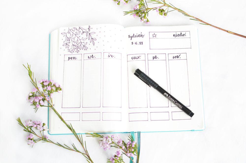 Bullet journal - rozkład na tydzień