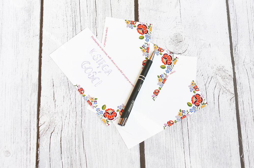 Księga gości - szablon kart na życzenia ślubne
