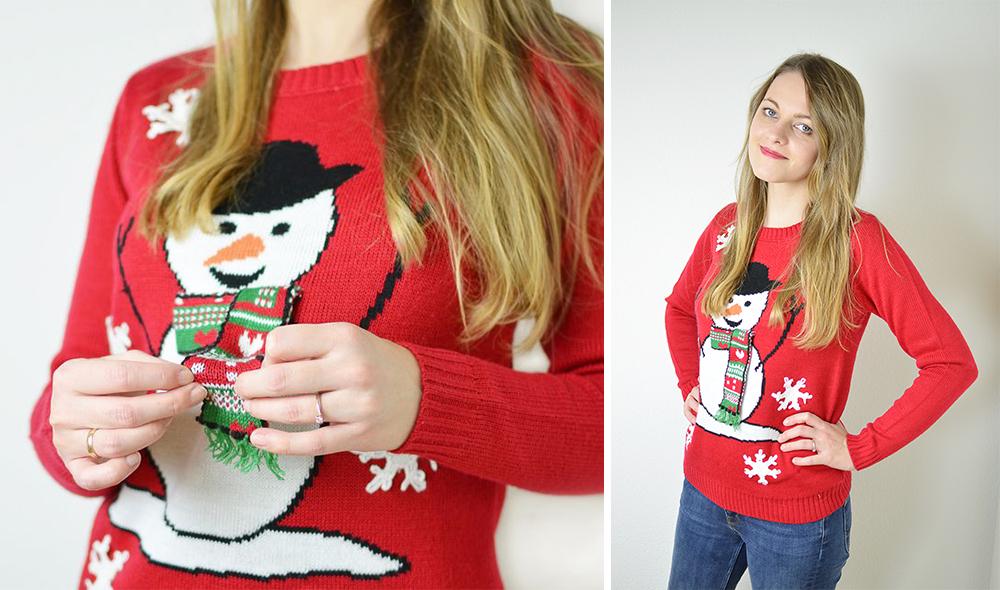Kiczowaty sweter z bałwanem