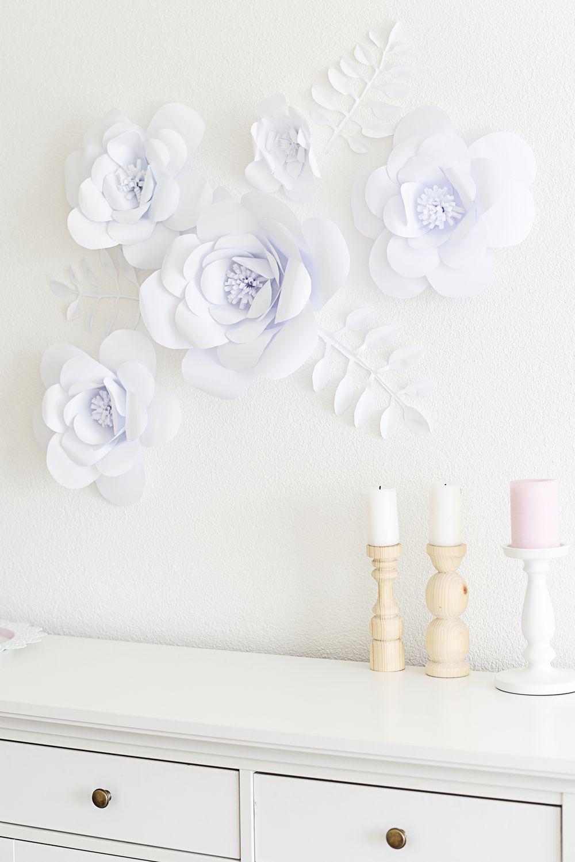 Papierowe kwiaty na ścianie | Polenka.pl