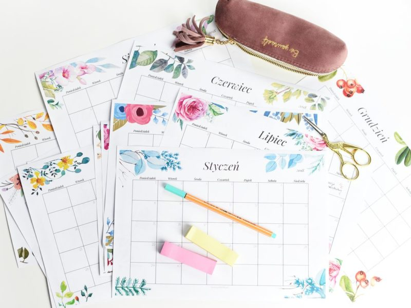 Kalendarz 2018 do druku - akwarelowe wzory
