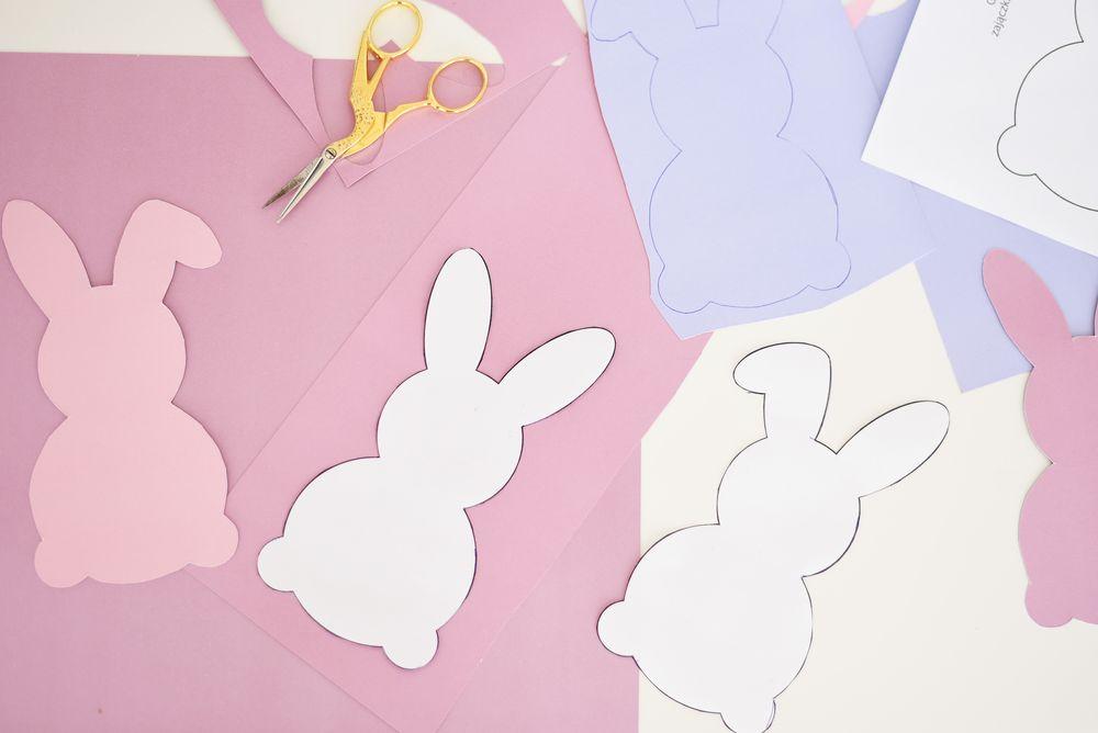 Zajączki z papieru - szablon